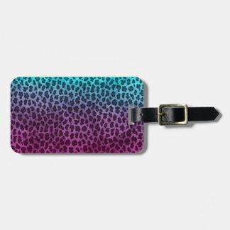 Impresión verde rosada púrpura del guepardo etiqueta para equipaje