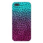 Impresión verde rosada púrpura del guepardo iPhone 5 fundas
