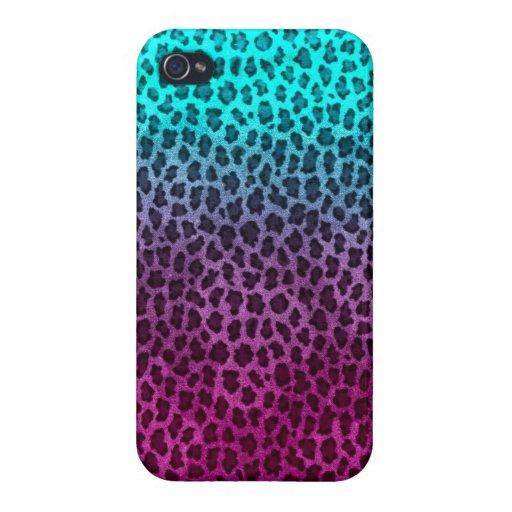 Impresión verde rosada púrpura del guepardo iPhone 4/4S fundas