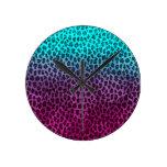 Impresión verde rosada púrpura del guepardo reloj de pared