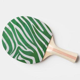 Impresión verde y blanca de la cebra pala de tenis de mesa
