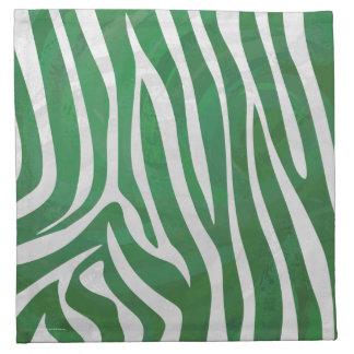 Impresión verde y blanca de la cebra servilletas imprimidas