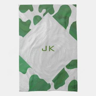 Impresión verde y blanca de la vaca toallas