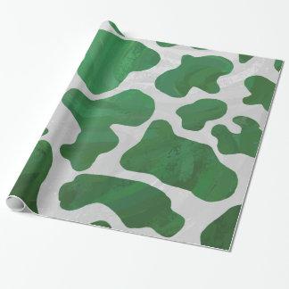 Impresión verde y blanca de la vaca