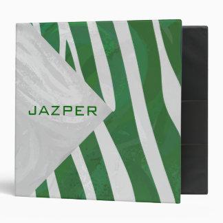 """Impresión verde y blanca del monograma de la cebra carpeta 2"""""""