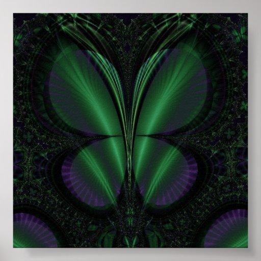 impresión verde y púrpura del poster de la maripos