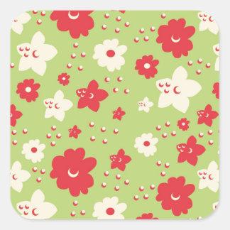Impresión verde y rosada del pétalo de la flor del calcomanias cuadradas