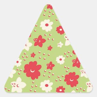 Impresión verde y rosada del pétalo de la flor del pegatina triangulo