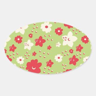 Impresión verde y rosada del pétalo de la flor del pegatina ovaladas personalizadas