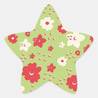 Impresión verde y rosada del pétalo de la flor del calcomanía forma de estrella