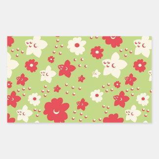 Impresión verde y rosada del pétalo de la flor del rectangular altavoz