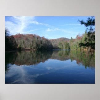 Impresión vidriosa rústica del lago poster