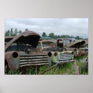 Impresión vieja de la lona de los camiones poster