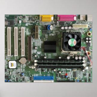 Impresión vieja de la placa madre de los component póster