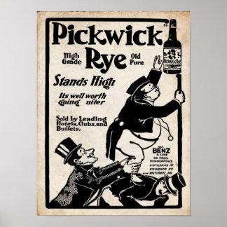 Impresión vieja de Pickwick Rye Liqour del vintage Póster