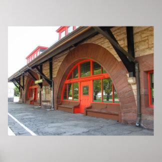 Impresión vieja del ~ de la estación de tren póster