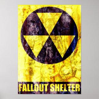 Impresión vieja del refugio de polvillo radiactivo póster