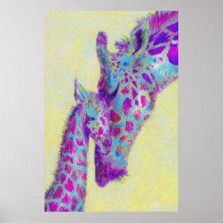 impresión violeta de las jirafas poster