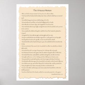 Impresión virtuosa del pergamino de la mujer poster