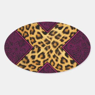 Impresión X del guepardo Pegatina Ovalada