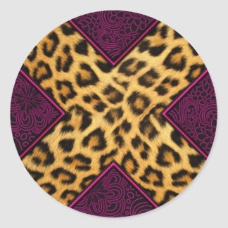 Impresión X del guepardo Pegatina Redonda
