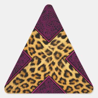 Impresión X del guepardo Pegatina Triangular