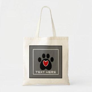 Impresión y corazón adaptables de la pata bolsa tela barata