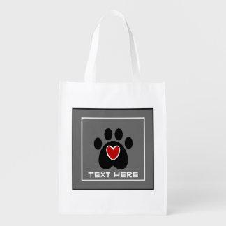 Impresión y corazón adaptables de la pata bolsas de la compra