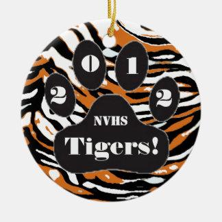 Impresión y pata del tigre adorno redondo de cerámica