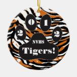Impresión y pata del tigre ornamentos de navidad