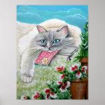 Impresión y poster blancos del arte del gato siamé