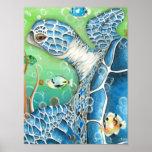 Impresión y poster del arte de la tortuga y de los