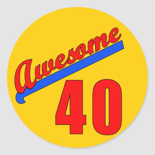 Impresionante en 40 años del 40.o cumpleaños pegatina redonda