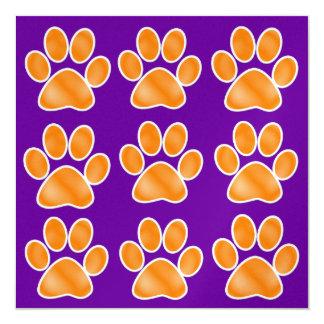 Impresiones anaranjadas de la pata - SRF Invitación 13,3 Cm X 13,3cm