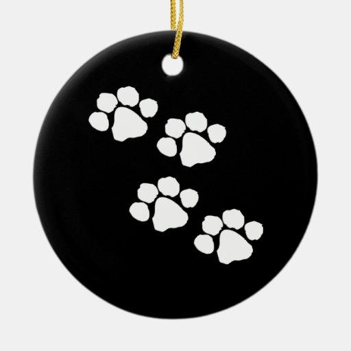 Impresiones animales de la pata ornamento para arbol de navidad