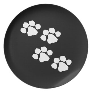 Impresiones animales de la pata platos de comidas