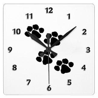 Impresiones animales de la pata relojes de pared