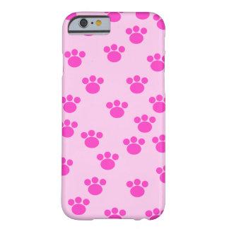 Impresiones animales de la pata. Rosa rosa claro y Funda Barely There iPhone 6