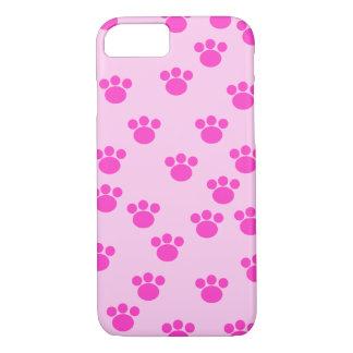 Impresiones animales de la pata. Rosa rosa claro y Funda iPhone 7