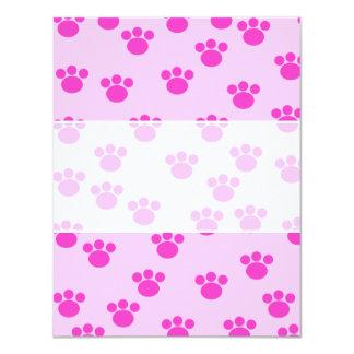 Impresiones animales de la pata. Rosa rosa claro y Invitación 10,8 X 13,9 Cm