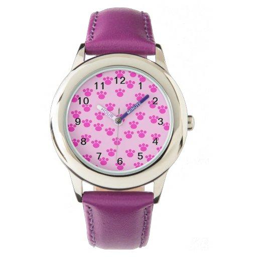 Impresiones animales de la pata. Rosa rosa claro y Relojes De Mano