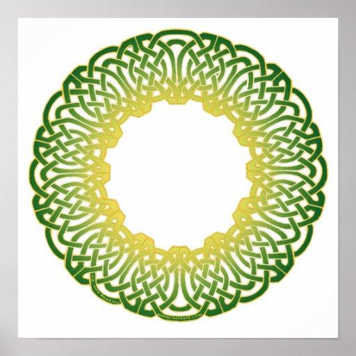 Impresiones célticas verdes de Knotwork del círcul