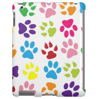 Impresiones coloridas de la pata del perro funda para iPad