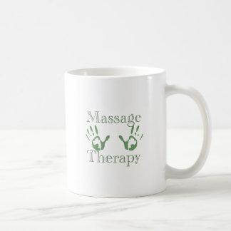 Impresiones de la mano de la terapia del masaje taza de café