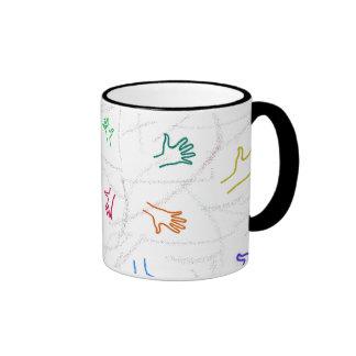 Impresiones de la mano taza de café