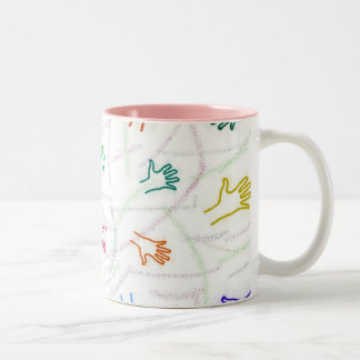 Impresiones de la mano taza de café de dos colores