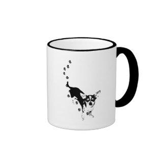 Impresiones de la pata de la chihuahua tazas de café