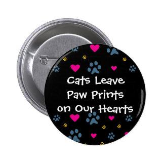 Impresiones de la pata de la licencia de los gatos pin redondo de 2 pulgadas