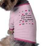Impresiones de la pata de la licencia de los masco camisetas de perro