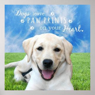 Impresiones de la pata de la licencia de los perro
